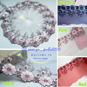 Floral-Tulle-Lace-Trim-Ribbon-Wedding-Fabric-Flower-Embroidery-Sewing-DIY-FL165