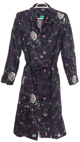 Tibi Detachable Midnight Coat Embroidered Sz M Belt Silk Boho Sash Floral Blue 6rwgzqS6x