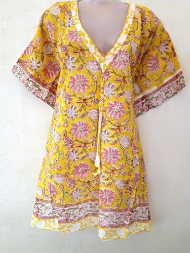 Indian Women Cotton Kaftan  Night Short Maxi Kurta Cover Up Abaya  Beach Dress