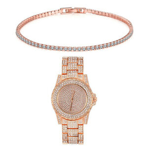 Iced-out-14K-Rose-Gold-Filled-Diamond-Created-Tennis-Bracelet-Watch-ITALY