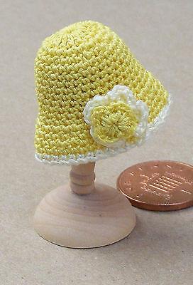 1:12 Scala Da Donna Giallo Uncinetto Cappello Miniatura Per Casa Delle Bambole