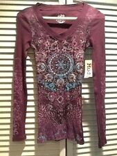 NEW WITH TAGS! Mudd Fashion Henley (Top) Turquoise on Purple EMBELLISHED! SZ XSM