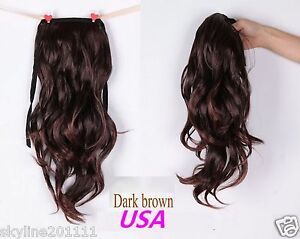 Long Wavy Curly Ponytail Pony Hair Wig Dark Brown USA Seller | eBay