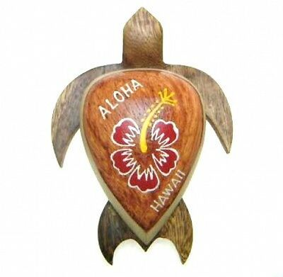 "QTY 2 NEW Hawaiian Souvenir Fridge Magnet  ~ 4/"" Large Wood Turtle # 18125"