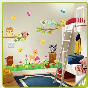 Tiere Wand Sticker Eule Dschungel Zoo Kinderzimmer Baby Schlafzimmer