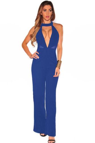 Blue Mesh Halter Celeb Evening Party Bodycon Summer Jumpsuit Dress 10 12 14