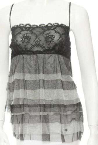 CHANEL tiered TOP shear layers lace CC logo Babydo