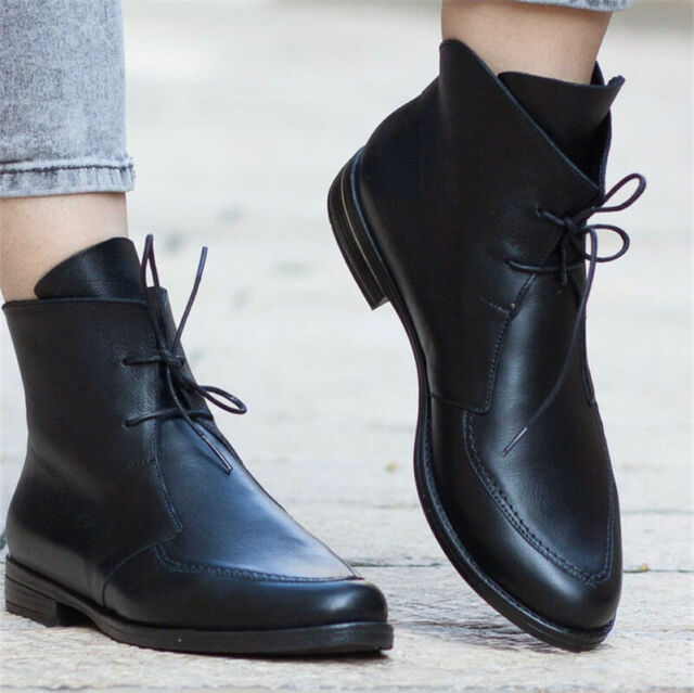 Womens Combat Army Booties Lace Up Pointed Toe Ankle Boots Flat Biker Shoes Size