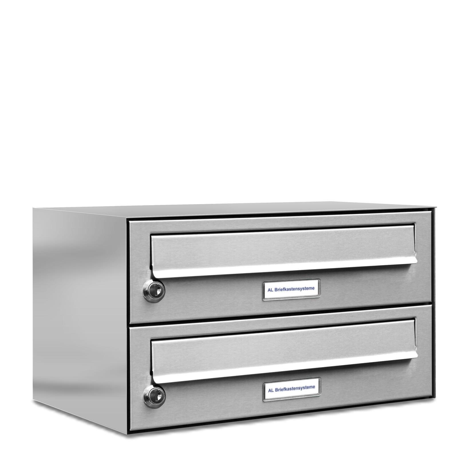 2 er Premium Edelstahl Wand Briefkasten Anlage A4 Postkasten Anordnung 1x2