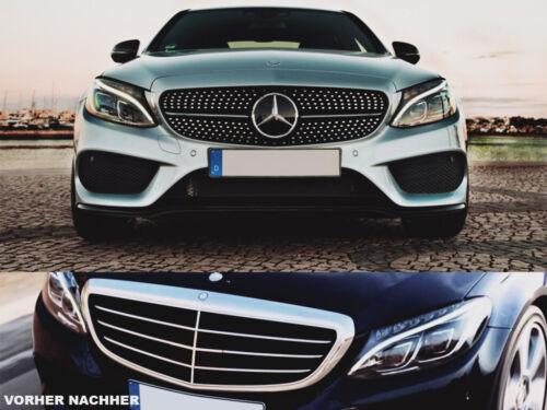 FÜR MERCEDES Benz C-KLASSE 2014-2018 W205 AMG OPTIK SPORT Schwarz KÜHLERGRILL