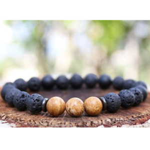 Fashion-8mm-Natural-Lava-Stone-Energy-Yoga-Reiki-Women-039-s-Men-039-s-Charm-Bracelets