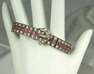 ART-DECO-BUCKLE-Bracelet-DIAMONBAR-1920s-STERLING-Pink-Sapphire-Diamond-Paste
