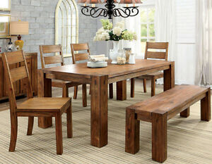 cabin douglas dark oak finish wood dining table set w chairs and bench