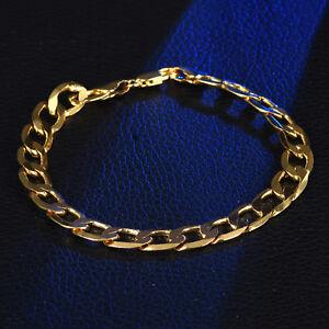 df7c0208386 Details about 8mm Wrist Chain Heavy Duty Gold Filled Stainless Steel Women  Men Bracelet Bangle