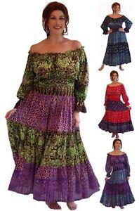 65fc4da16dc Image is loading Mexican-Peasant-Dress -Smocked-Rayon-Batik-LotusTraders-I868-