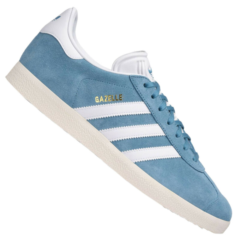 Adidas Gazelle Women's Girl's Casual Shoes Low Top Trainers Blue White 37 1/3