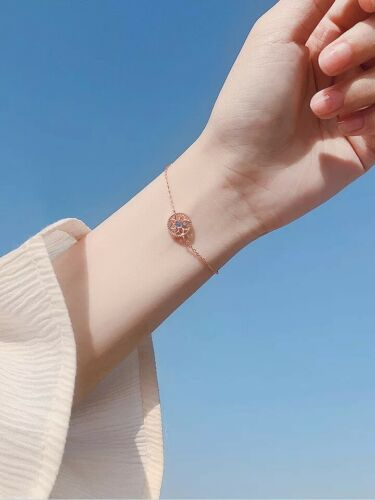 Armband,Armkette,925Silber Rosegold,Sonneblume,Imitation Sapphire 0.3cm Neu