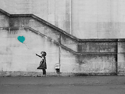 Banksy Girl Hope Teal Balloon Canvas Pictures Graffiti Urban Wall Art Prints