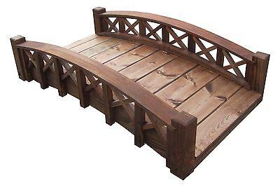 4' Swan Wood Garden Bridges with Cross Halved Lattice Rails, Made in USA,New