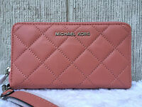 Michael Kors Jet Set Multifunc Ip6 Plus Quilted Wristlet Antique Rose $128+