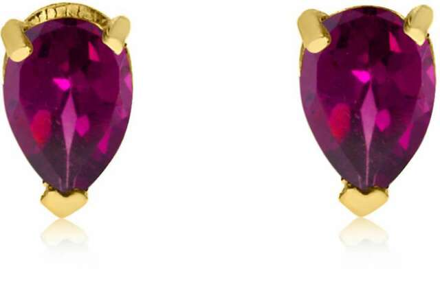 14k Yellow Gold Ruby Pear Shaped Earrings