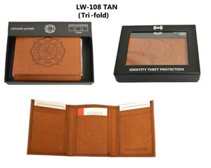 f440b45f54c9 Details about Fire Department Genuine Leather Tri-fold Tan wallet in Gift  Box, RFID safe