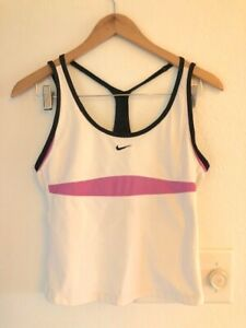 Nike Women's Tank Crop Size M Top Shelf Bra Pocket White Black Pink