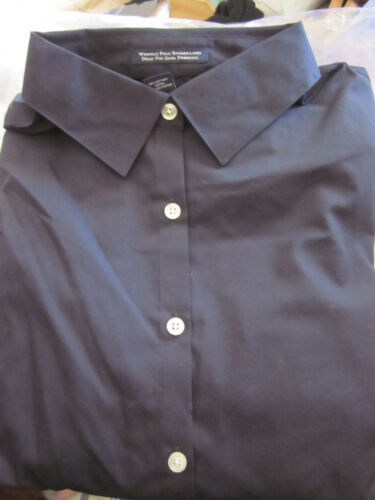BLACK SIZE 10 NEW LANDS END WOMENS L//S WRINKLE FREE BROADCLOTH