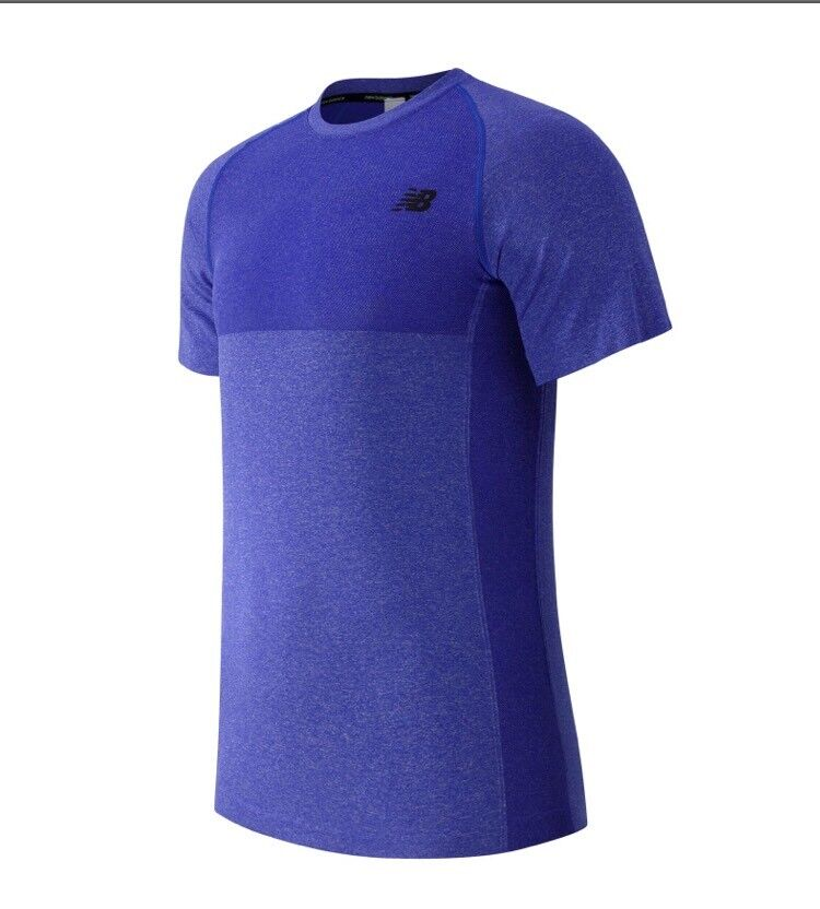 NWT  75 New Balance Men's Seamless SS Performance Tee Large Bright bluee