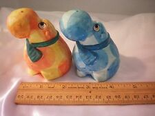 Vintage Hippo Salt & Pepper Shakers Purple and Yellow Orange