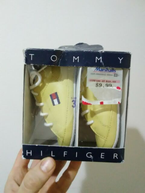 abed6c4d NIB Vintage Tommy Hilfiger Baby Shoes Size 3 M Infant Big Flag Yellow