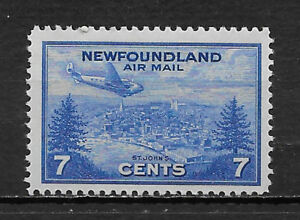 Terre-neuve, Canada, 1943, Airmail, 7 C Timbre, Perf, Neuf Sans Charnière-afficher Le Titre D'origine