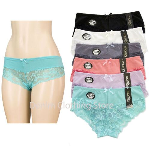 6pcs Women Ladies Cotton Bikini//Lace At Bottom Underwear Panties Lingerie S-XL