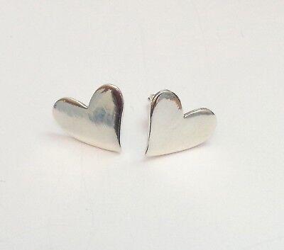 925 Sterling Silver Polished Heart Post Earrings