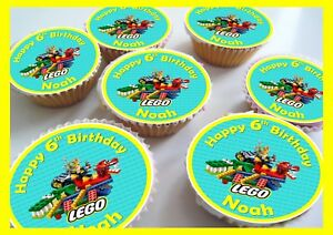 Prime Lego Birthday Thank You Edible Personalised Cupcake Toppers Funny Birthday Cards Online Overcheapnameinfo