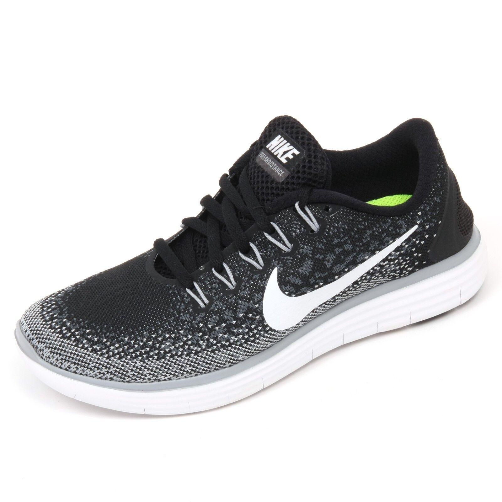 C5912 sneaker donna NIKE FREE RN DISTBNCE bianco/nero/grigio shoe woman