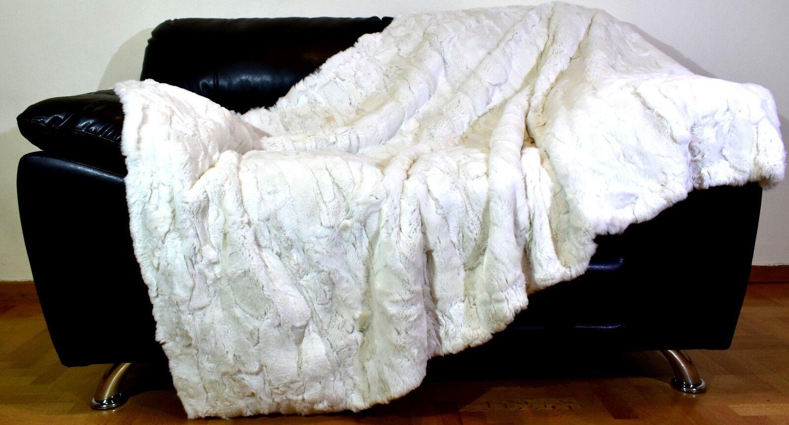 Luxury Real White Smoke Rex Rabbit Throw Blanket
