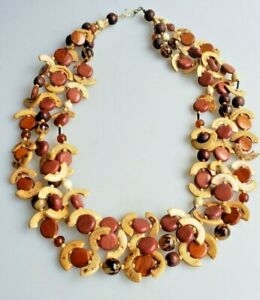 Wood and seed multi-strand boho ethnic necklace natural tones