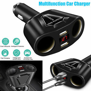 Car-LCD-Cigarette-Lighter-Socket-Splitter-Dual-USB-Charger-Power-Adapter-DC-12V