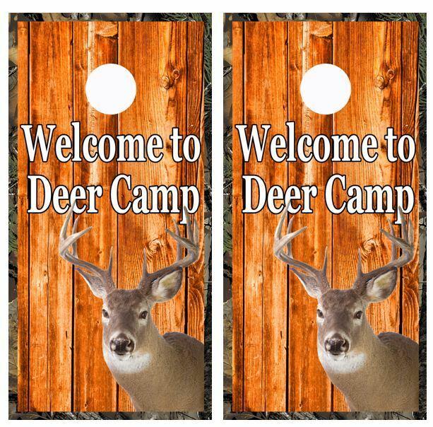 Welcome To Deer  Camp Barnwood Cornhole Board Game Wraps FREE LAMINATION  order online