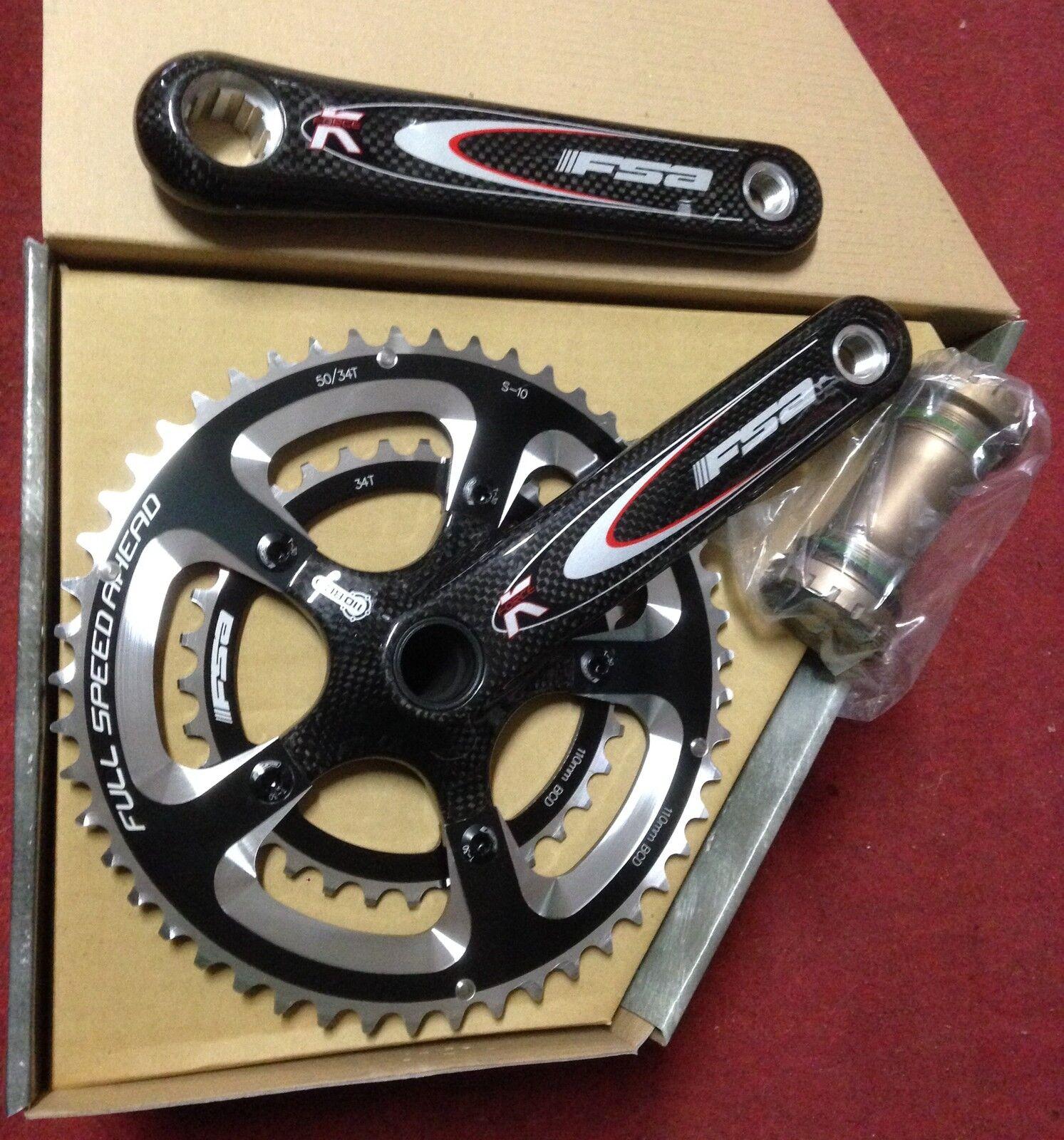 Kurbelgarnitur Fahrrad Fsa K-Kraft Megaexo Compact 50-34 170 Crankset Road 10s