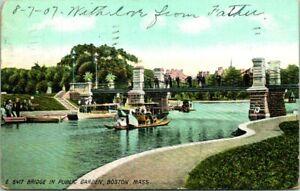 C54-5675, BRIDGE IN PUBLIC GARDEN, BOSTON, MASS. POST CARD.