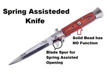 """Duck Wood Handle Spring Assisted Italian Style Stiletto Pocket Knife 4"""" Blade"""