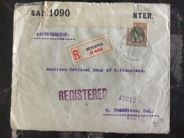 1916 Denveter Netherlands Censored Cover To San Francisco Bank Usa