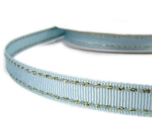 "2 Yds Metallic Gold Side Saddle Stitched Light Blue Grosgrain Ribbon 3//8/""W"