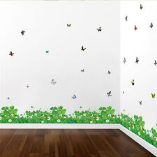 New Grass Butterfly Wall Stickers Removable DIY Bedroom Decals Home Decoration