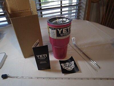 Yeti Rambler PINK hot 30 oz tumbler cold cup mug straw cleaner set NIB scratch