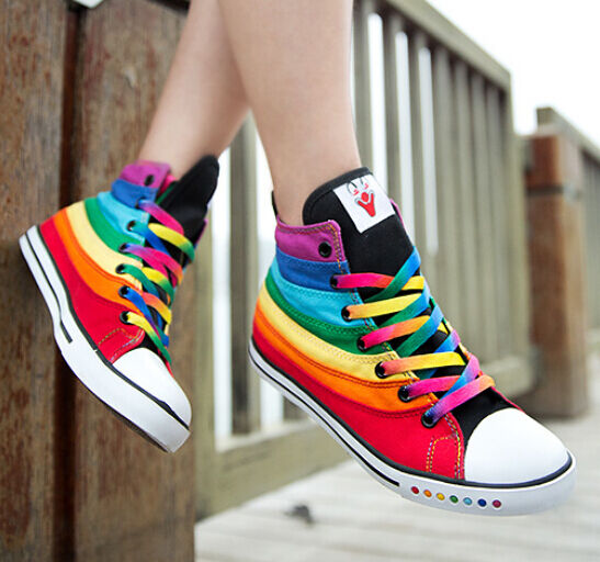 2016 Vogue Chic Stylish Multi Color Women's Rainbow High Top Sneakers Boots Shoe