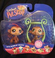 Hasbro LPS Littlest Pet Shop Twin Monkeys Jungle Gym #56 57 Green Purple Eyes