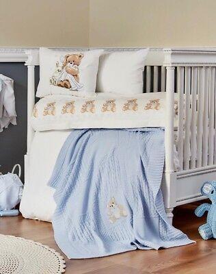 2019 Nuovo Stile ** Nuovo Lusso Bambino Biancheria Da Letto Set Per Culla/letto-baby Blu E Bianco + Orsetta-mostra Il Titolo Originale Eccellente Nell'Effetto Cuscino